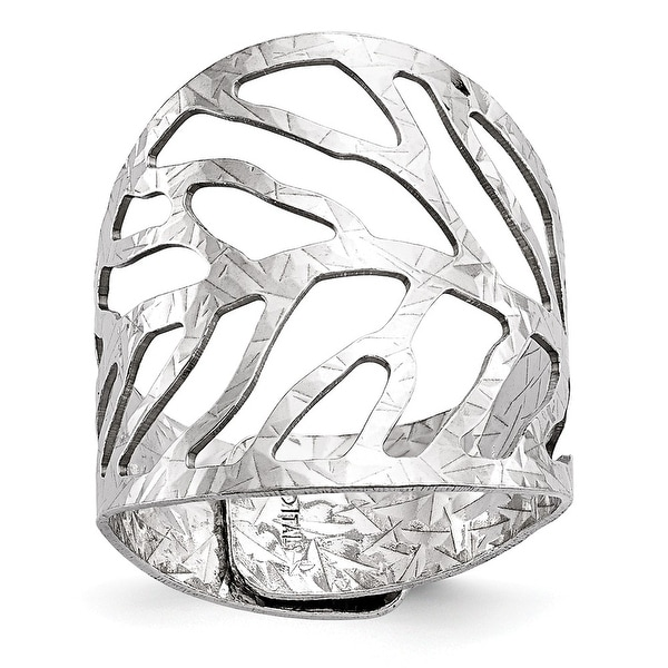 Italian Sterling Silver Rhodium-plated Adjustable Ring
