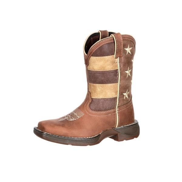 2a6ec08590d Shop Durango Western Boots Boys Lil Rebel Kids Faded USA Flag Brown ...