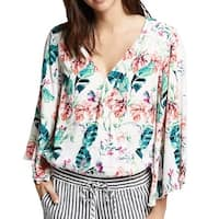 Sanctuary White Floral Print Surplice Women Large L Wrap Blouse Top