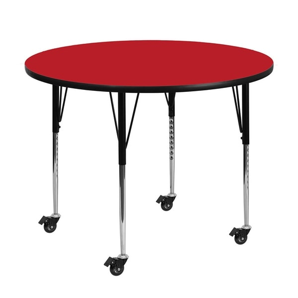 "Offex 48"" Mobile Round Activity Table with 1.25"" Thick High Pressure Red Laminate Top and Standard Height Adjustable Legs - N/A"