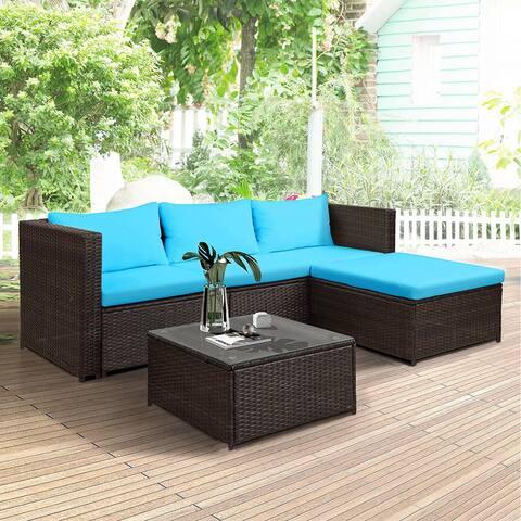 Nestfair 5-Pieces Rattan Patio Furniture Set Wicker Sofa