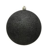 3 in. Gunmetal Glitter Drilled Christmas Ornament Ball - 12 per Bag