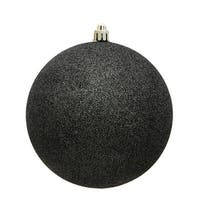 4.75 in. Gunmetal Glitter Drilled Christmas Ornament Ball - 4 per