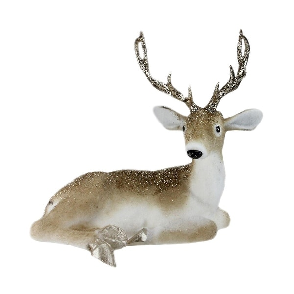 """13.5"""" Nature's Luxury Golden Brown Laying Deer Christmas Decoration"""