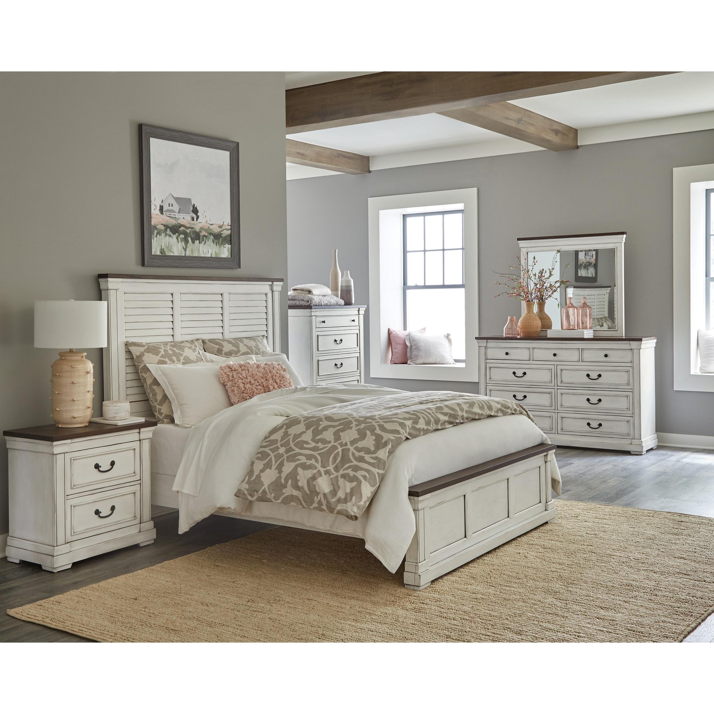 Marlowe White And Dark Rum 4 Piece Bedroom Set With 2 Nightstands Overstock 32116987