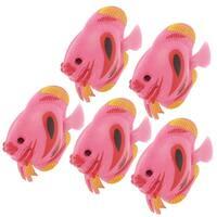 Unique Bargains 5 Pcs Plastic Fish Ornament Medium Pink for Aquarium Tank