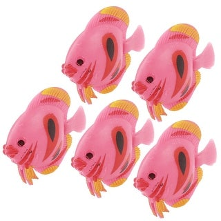 Unique Bargains 5 Pcs Plastic Fish Ornament Medium Pink for Aquarium Tank
