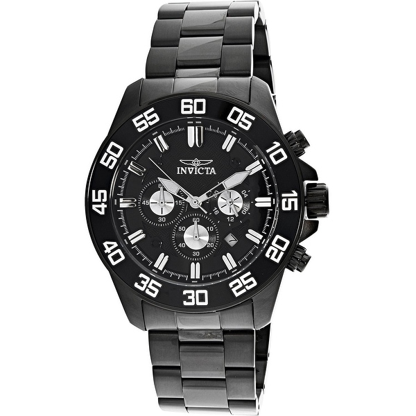 e4e661412 Shop Invicta Men's Pro Diver Black Stainless-Steel Diving Watch - Free  Shipping Today - Overstock - 18618697