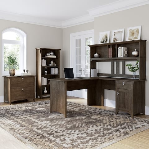 Salinas 60W L Desk with Hutch, Cabinet and Bookcase by Bush Furniture