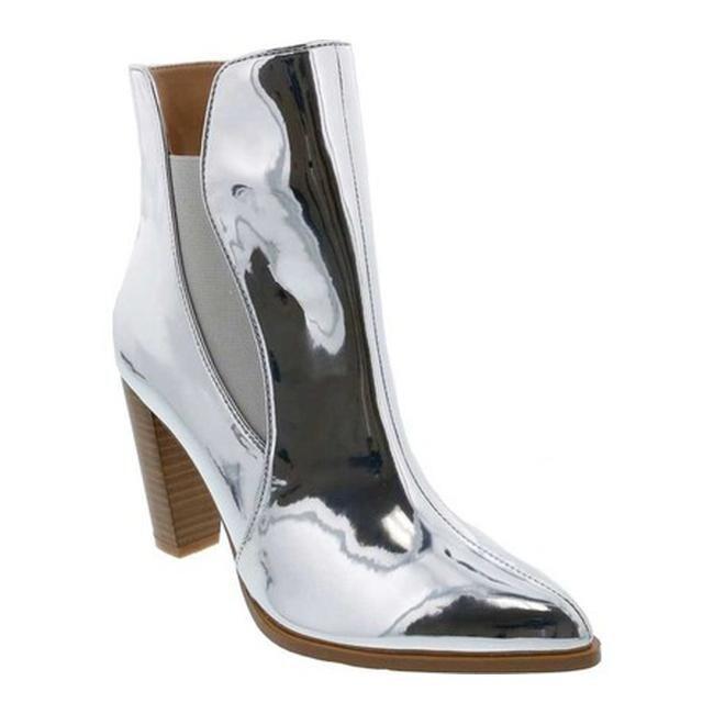 Penny Loves Kenny Women's Avid High Heel Chelsea Boot Silver Mirror Metallic Faux Leather