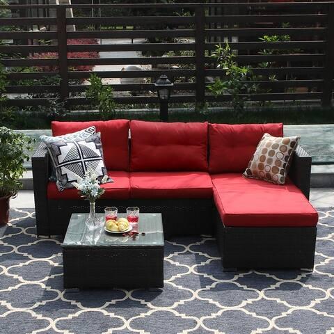 PHI VILLA 3-Piece Patio Furniture Set Rattan Sectional Sofa Furniture