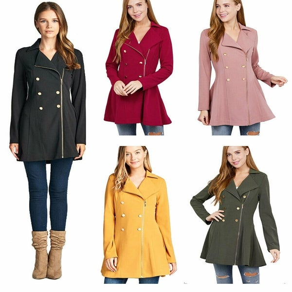 NioBe Clothing Juniors Asymmetric Zipper Pea Coat Blazer