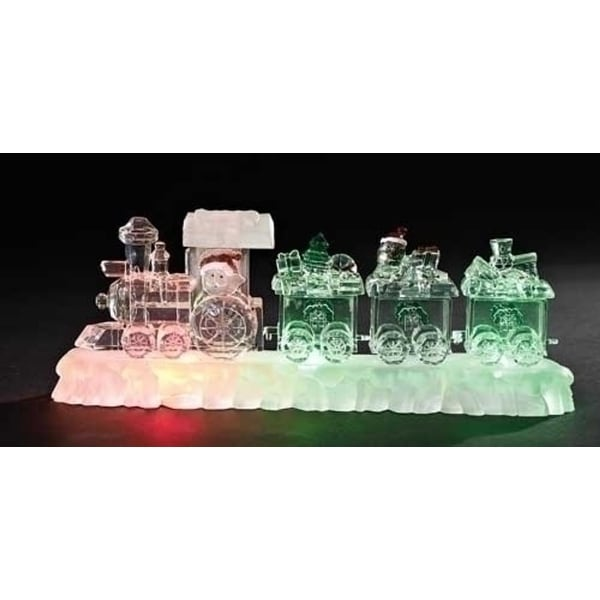 "12"" Icy Crystal LED Lighted Santa Claus Christmas Train on Base Table Top Decoration"