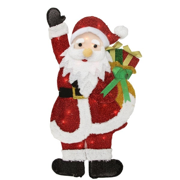 """32"""" Lighted Tinsel Waving Santa with Gift Christmas Outdoor Decoration - RED"""