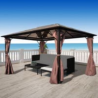 vidaXL Garden Gazebo 13'x10' Pavilion Canopy Marquee Party Tent Outdoor Brown