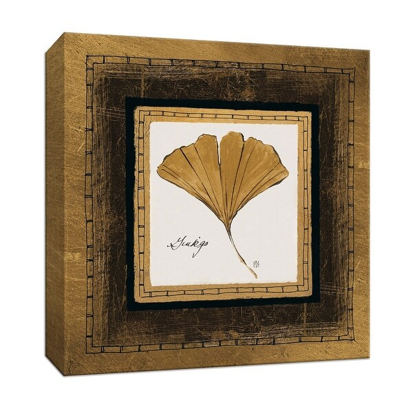 """PTM Images 9-153175 PTM Canvas Collection 12"""" x 12"""" - """"Gilded Ginkgo"""" Giclee Ginkgo Leaves Art Print on Canvas"""