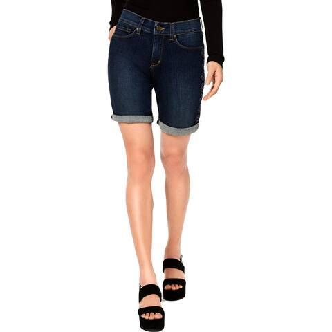 NYDJ Womens Briella Denim Shorts Embroidered Lift Tuck Technology