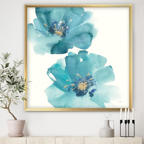 Designart 'Blue Cosmos Indigo II' Farmhouse Framed Art Print