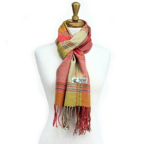 Plaid Cashmere Feel Classic Soft Luxurious Scarf For Men and Women - Pink/Yellow