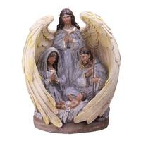 "11.25"" African-American Holy Family and Angel Christmas Nativity Table Decoration - silver"