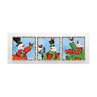 "Set of 4 Snow Drift Snowman & Red Cardinal Porcelain Tile Christmas Coasters 4"""