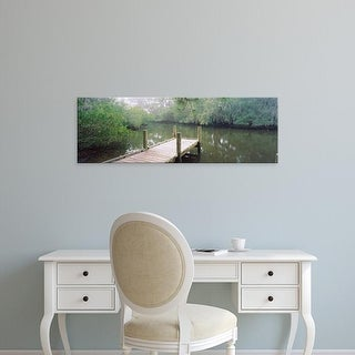 Easy Art Prints Panoramic Images's 'Pier in river, South Creek, Oscar Scherer State Park, Osprey, Florida' Canvas Art