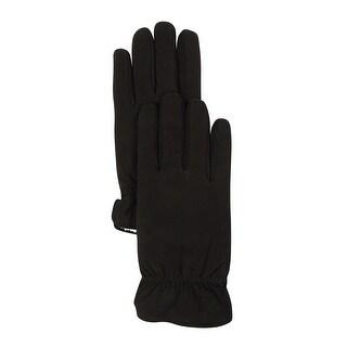 Grandoe Men's Sherpa-Lined Sensor Touch Leather Gloves (M, Black)