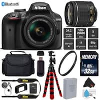 "Nikon D3400 DSLR 24.2MP DX CMOS Camera AF-P 18-55mm VR Lens + 12"" Flexible Tripod + Camera Case - Bundle (Intl Model)"