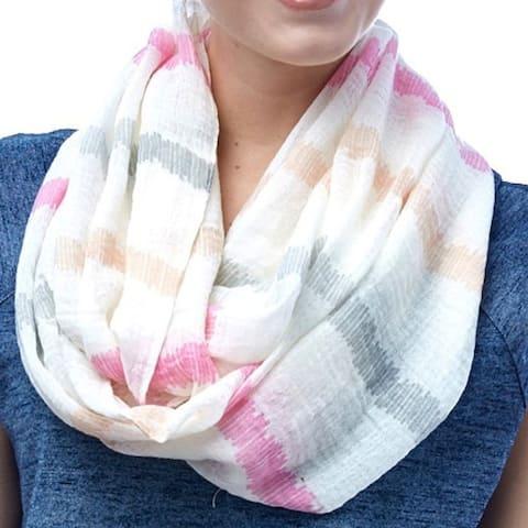 Women Amtal Neon Style Stripe Viscose Infinity Scarf Lightweight White Summer Spring Soft Silky Blue Green Pink Gift
