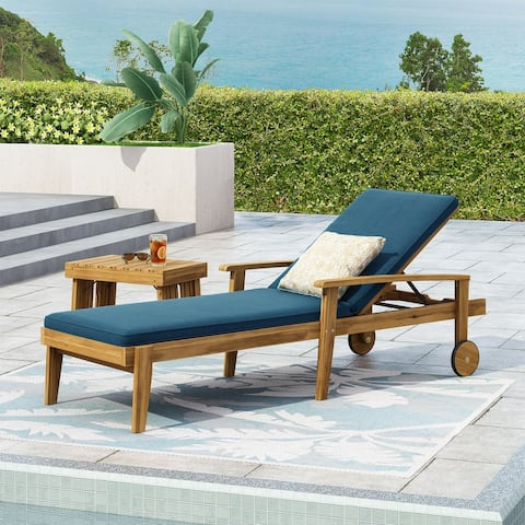 Jason Outdoor Acacia Wood Outdoor Chaise Lounge with Water Resistant Cushion by Christopher Knight Home