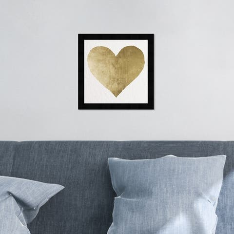 Oliver Gal 'Forever and Ever' Fashion and Glam Framed Wall Art Prints Hearts - Gold, White