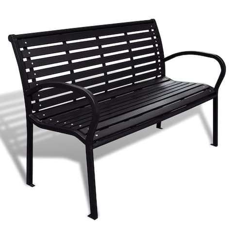 "vidaXL Garden Bench Steel Porch Patio Park Path Chair Outdoor Deck Seating - 49"" x 24"" x 32"""