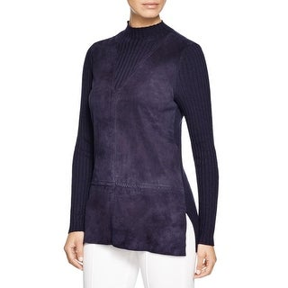 Tory Burch Womens Mock Turtleneck Sweater Ovine Leather Merino Wool