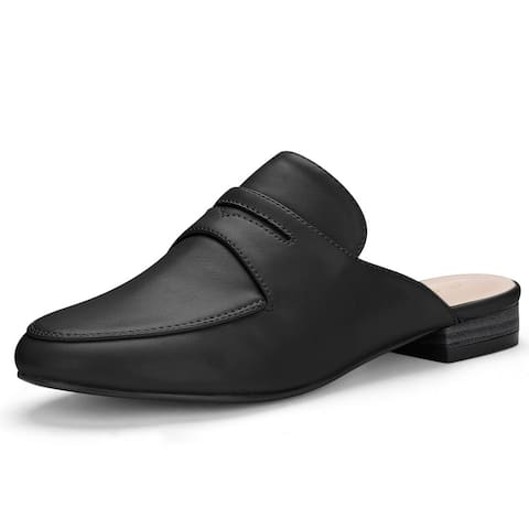 Women's Rounded Toe Backless Slip On Loafer Mules