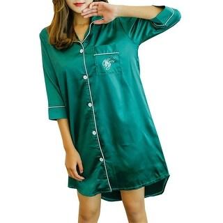 QZUnique Women Satin Pajama Top Nightshirt Sleepwear Sleep Shirt Dress