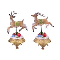 "Set of 2 Glittered Reindeer Christmas Stocking Holders 9.25"" - Brown"