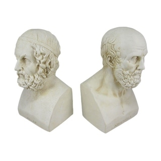 Aristotle And Homer Bust Bookends Greek Philosophy - White