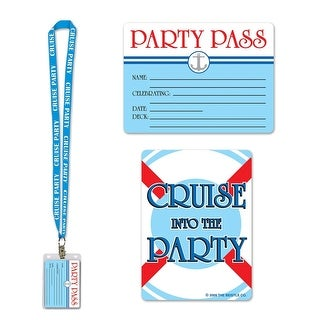 Pack of 12 Light Blue Cruise Ship Party Pass Lanyard and Card Holder 25""