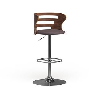 Link to Carson Carrington Cranagh Mid-Century Modern Walnut Faux Leather Adjustable Barstool - N/A Similar Items in Living Room Furniture