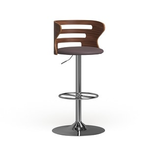 Link to Carson Carrington Cranagh Mid-Century Modern Walnut Faux Leather Adjustable Barstool - N/A Similar Items in Dining Room & Bar Furniture