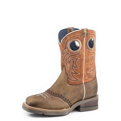 Roper Western Boots Boys Leather Saddle Vamp Brown