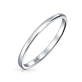 Bling Jewelry 925 Sterling Silver Wedding Band Thumb Toe Ring 2mm