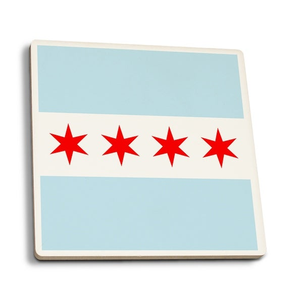 Chicago, IL - Flag (Version #2) - LP Artwork (Set of 4 Ceramic Coasters)