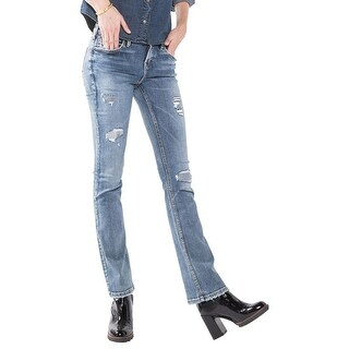 Silver Jeans Co. Womens Aiko Slim Bootcut Jeans Distressed Straight Fit