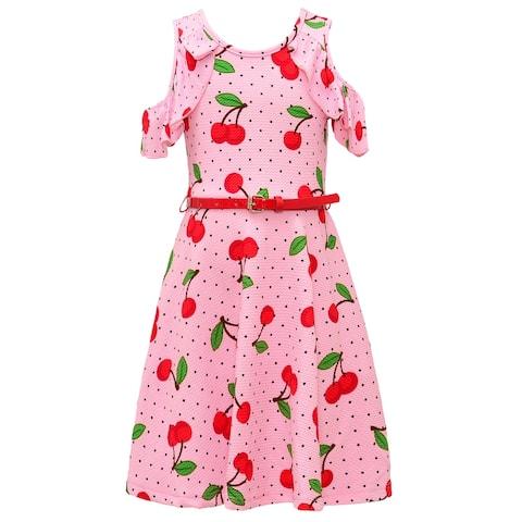 Little Girls Pink Black Dot Cherries Belted Cold Shoulder Easter Spring Dress