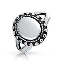 Bling Jewelry Engraveable Womens Oval Beaded Sterling Silver Signet Ring