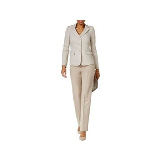 Le Suit Womens Three-Button Suit Contrast Three-Button