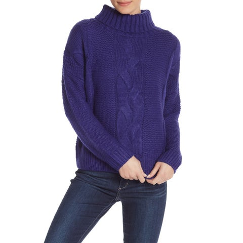 Elodie Blue Women's Size Large L Turtleneck Mock Cable Knit Sweater