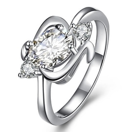 Center Crystal Gem Spiral Emblem Petite Ring