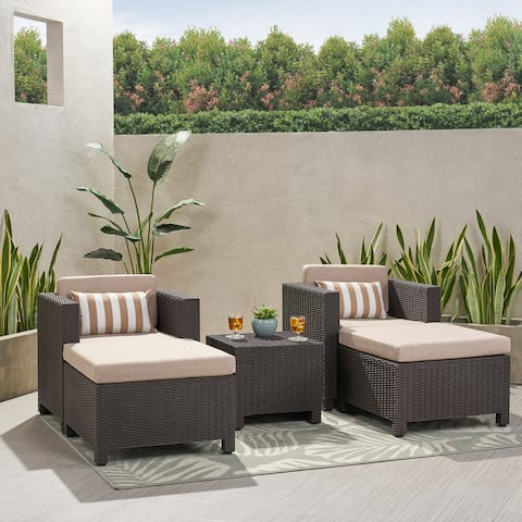 Waverly Outdoor 2 Seater Faux Wicker Print Chat Set with Ottomans by Christopher Knight Home
